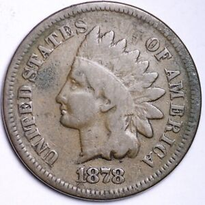 VG 1878 INDIAN HEAD CENT PENNY