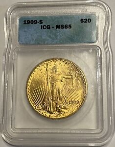 1909 S $20 GOLD SAINT GAUDENS ICG MS65 APPROVED DOUBLE EAGLE SAN FRANCISCO