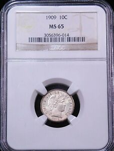 1909 BARBER SILVER DIME NGC MS65 SUPERB LUSTER PREMIUM QUALITY GC816