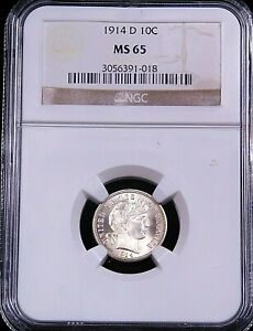 1914 D BARBER SILVER DIME NGC MS65 WHITE SUPERB LUSTER PREMIUM QUALITY GC817