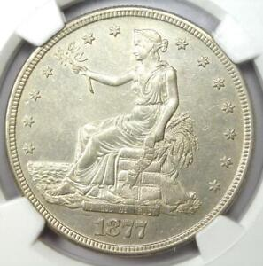 1877 S TRADE SILVER DOLLAR T$1   CERTIFIED NGC AU DETAILS    COIN