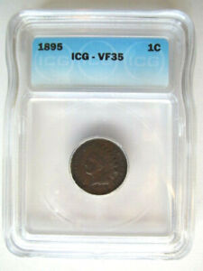 1895 INDIAN HEAD CENT 1C PENNY   GRADED ICG VF35