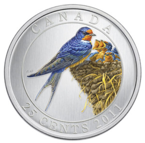 Click now to see the BUY IT NOW Price! CANADA 2011 25 CENT BIRDS OF CANADA: BARN SWALLOW   COLOURED COIN COA BOX