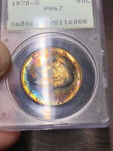 Click now to see the BUY IT NOW Price! 1970 S KENNEDY HALF DOLLAR PCGS PR67 RATTLER THE UNICORN WILD TONING