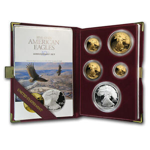 Click now to see the BUY IT NOW Price! 1995 W 5 COIN PROOF AMERICAN EAGLE SET  10 ANNIV BOX & COA    SKU 11201