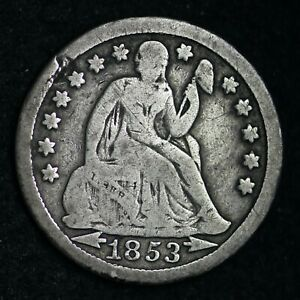 1853 W/ARROWS SEATED LIBERTY SILVER DIME CHOICE FINE  E287 ACR