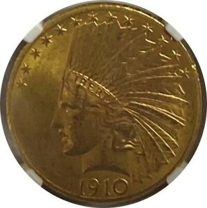 US GOLD COIN. 1910 GOLD $10 INDIAN. TYPE 2 WITH MOTTO NGC GRADED MS64