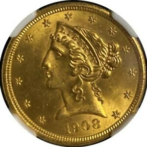 US GOLD COIN. 1908 GOLD $5 LIBERTY. TYPE 2 WITH MOTTO NGC GRADED MS64
