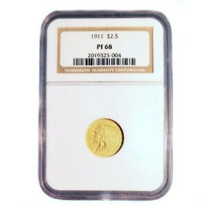 Click now to see the BUY IT NOW Price! CERTIFIED US GOLD $2.5 PROOF INDIAN 1911 PF68 NGC