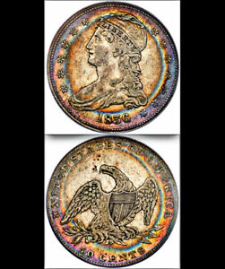 1836 REEDED EDGE 50C PCGS XF 40 JAW DROPPING EYE APPEAL