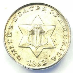 1853 THREE CENT SILVER COIN 3CS   CERTIFIED ANACS MS62  BU UNC     COIN