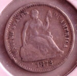 1872 US SEATED SILVER HALF DIME COIN