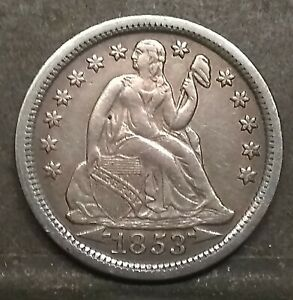 1853 SEATED LIBERTY DIME WITH ARROWS AU CONDITION