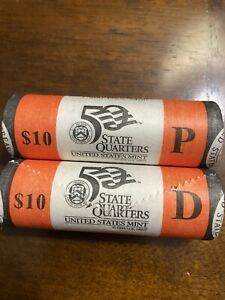 US MINT UNCIRCULATED 50 STATE QUARTER ROLL RHODE ISLAND P AND D ROLLS