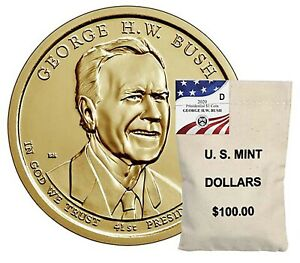 2020 P&D GEORGE H.W. BUSH PRESIDENTIAL GOLDEN DOLLAR 2 COINS NOTSOLD IN MINT SET