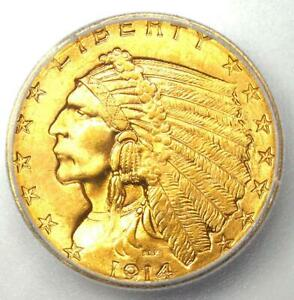 1914 D INDIAN GOLD QUARTER EAGLE $2.50 COIN   CERTIFIED ICG MS65   $13 200 VALUE