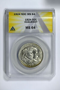 1924 ANACS MS64 CLASSIC COMMEMORATIVE HUGUENOT HALF DOLLAR REALLY NICE LUSTER