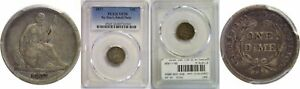 1837 SEATED LIBERTY HALF DIME PCGS VF 30 NO STARS SMALL DATE
