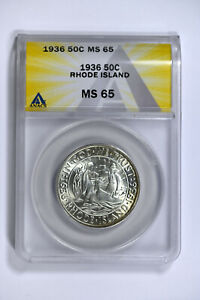 1936 ANACS MS65 CLASSIC COMMEMORATIVE RHODE ISLAND HALF DOLLAR REALLY NICE COIN