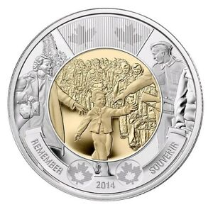 2014 CANADA $2 COIN WWII COMMEMORATIVE WAIT FOR ME DADDY TOONIE UNC