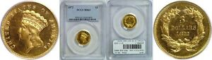 1872 $3 GOLD COIN PCGS MS 61
