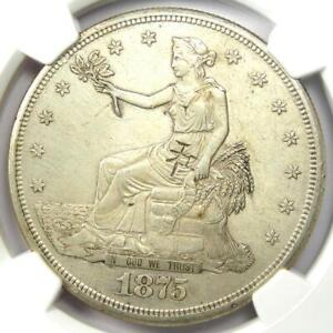 1875 S TRADE SILVER DOLLAR T$1 COIN   CERTIFIED NGC AU DETAILS WITH CHOP MARKS