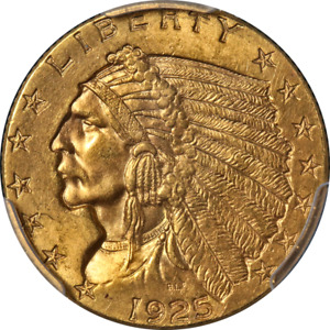 1925 D INDIAN GOLD $2.50 PCGS MS64 SUPERB EYE APPEAL STRONG STRIKE