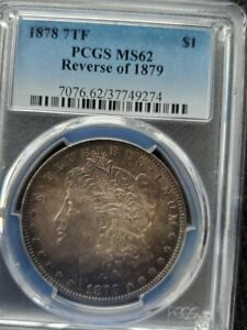 Click now to see the BUY IT NOW Price! 1878 REVERSE OF 1879 HITLIST 40 VAM 224  168 REEDS  TONED PCGS MS 62 MORGAN