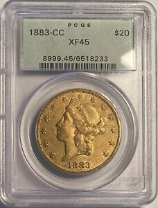 1883 CC $20 DOUBLE EAGLE GOLD PCGS OGH XF45  OLD GREEN HOLDER; ORIGINAL COIN