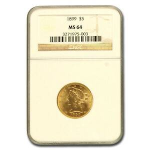 1899 $5 LIBERTY GOLD HALF EAGLE MS 64 NGC   SKU58445