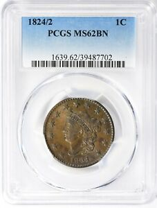 Click now to see the BUY IT NOW Price! 1824/2 CORONET LARGE CENT PCGS MS62 BN BROWN US LARGE CENT OVERDATE GENUINE