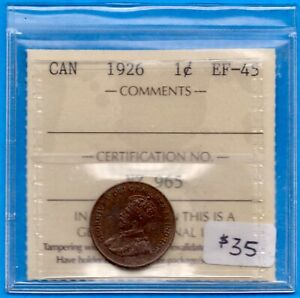 CANADA 1926 1 CENT ONE SMALL CENT COIN   BETTER DATE   ICCS EF 45