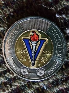 CANADA 2020 END OF WWII 75TH ANNIVERSARY COLOURED TOONIE $2 COIN