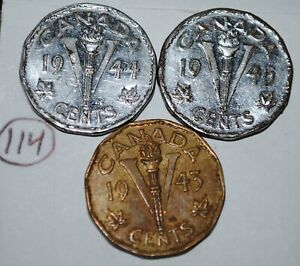 CANADA 5 CENTS 1943 1944 1945 V NICKELS GEORGE VI CANADIAN VICTORY COIN LOT 114