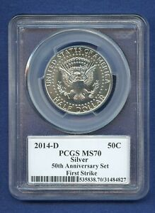 2014 D PCGS MS70 KENNEDY SILVER HALF 50C ANNIVERSARY SET FS MS 70 MOY SIGNED