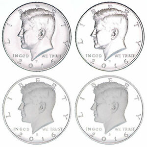 2016 P D S S KENNEDY HALF DOLLAR YEAR SET SILVER & CLAD PROOF & BU US 4 COIN LOT