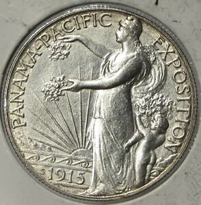 1915   S  50C PANAMA  SILVER HALF DOLLAR UNC DETAILS OLD CLEANING  061615