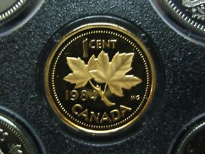 1984 UNC FROSTED PROOF CANADIAN PENNY ONE CENT   1 CENT COIN