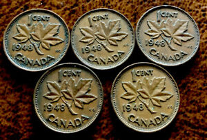 5   CANADIAN PENNY 1 CENT 1948 COPPER COIN KING GEORGE VI 98  COPPER 5 COINS