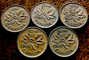 5   CANADIAN PENNY 1 CENT 1958 COPPER COIN QUEEN ELIZABETH II  98 COPPER 5 COINS