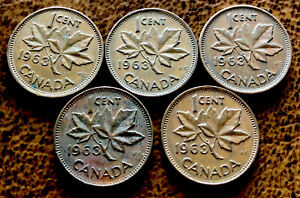 5   CANADIAN PENNY 1 CENT 1963 COPPER COIN QUEEN ELIZABETH II  98 COPPER 5 COINS