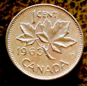 CANADIAN PENNY 1 CENT 1963 COPPER COIN 27 YEAR OLD QUEEN ELIZABETH II 98 COPPER