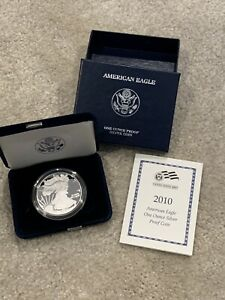 2010 AMERICAN SILVER EAGLE PROOF WITH COA IN ORIGINAL MINT PACKAGING 1 OZ