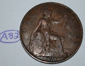 1921 GREAT BRITAIN 1 PENNY GEORGE V UK COIN KM 810 LOT A82