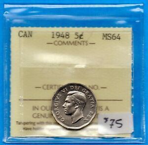 CANADA 1948 5 CENTS FIVE CENT NICKEL COIN   ICCS MS 64