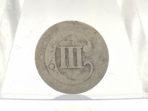 DATELESS AND WORN THREE CENT SILVER PIECE NO OBVERSE