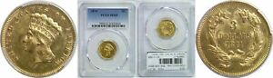 1874 $3 GOLD COIN PCGS MS 61