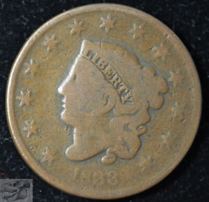 1833 CORONET HEAD LARGE CENT EARLY COPPER GOOD  CONDITION NEWCOMB 6 C5467