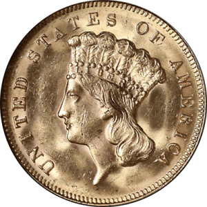 1878 INDIAN PRINCESS GOLD $3 NGC MS64 GREAT EYE APPEAL FANTASTIC LUSTER