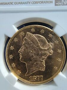 1877 DOUBLE GOLD EAGLE $20 NGC MS61 UNCIRCULATED GORGEOUS COIN